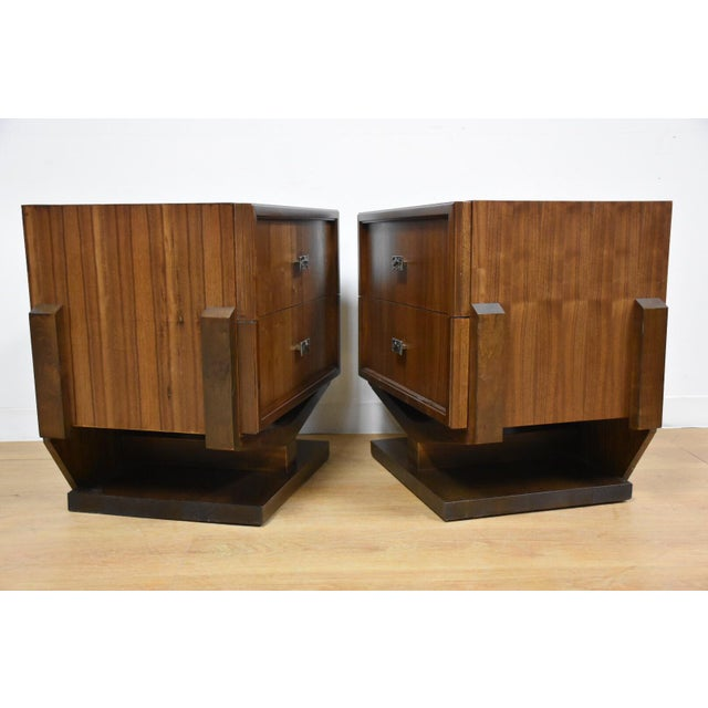 Mid-Century Brutalist Walnut Nightstands - A Pair - Image 4 of 11