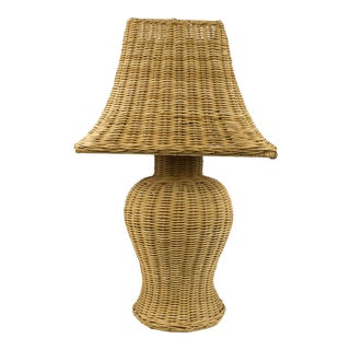 1970s Natural Wicker Ginger Jar Shaped Table Lamp For Sale