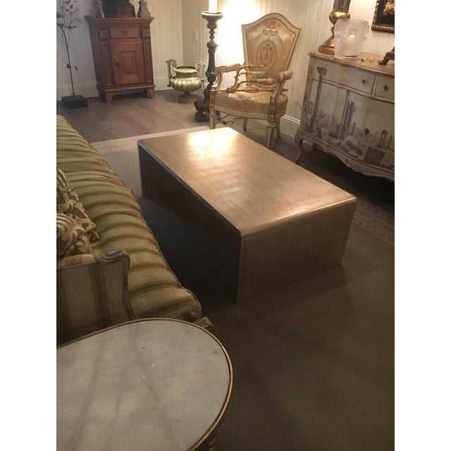 Waterfall Coffee Table With Silver Leaf Finish in the Style of Jean Michel Frank For Sale In South Bend - Image 6 of 9