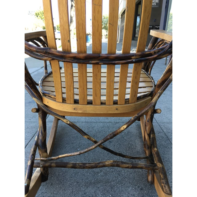 Wood Late 20th Century Rustic Adirondack Oak and Hickory Twig Rocking Chair For Sale - Image 7 of 11