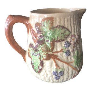 1930's Shorter & Sons English Majolica High Blackberry Pitcher For Sale