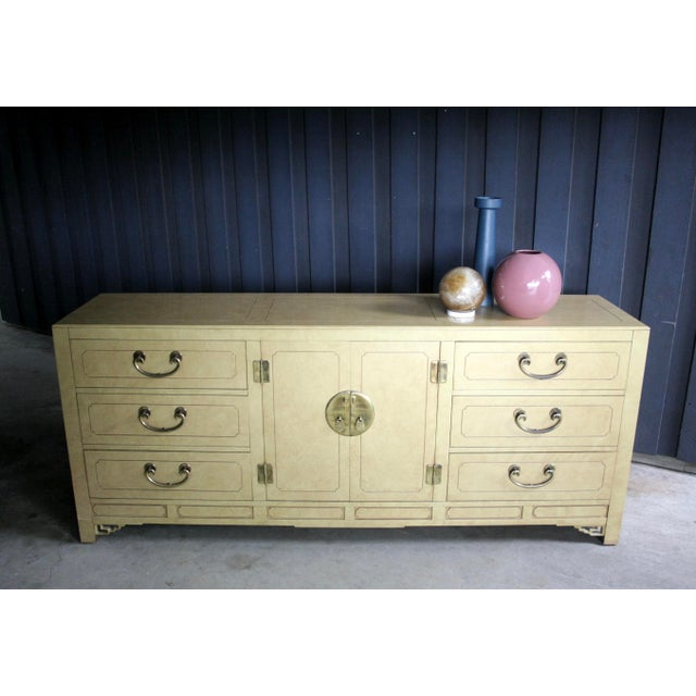 Asian Faux Parchment Lacquered Chinoiserie Credenza For Sale - Image 3 of 11