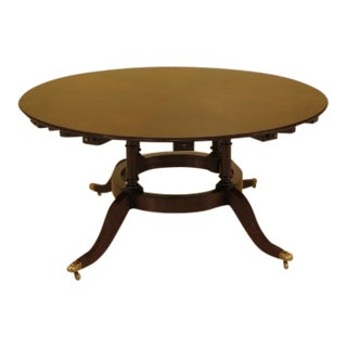 Large Round Mahogany Dining Room Table with Outer Leaves