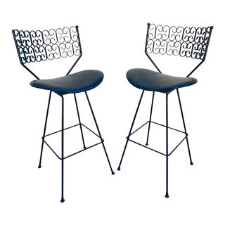 1960s Vintage Arthur Umanoff Wrought Iron Barstools- A Pair For Sale