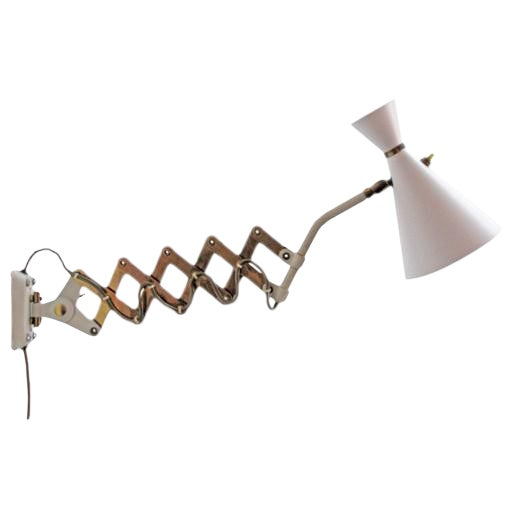 German White and Brass Scissor Lamp - Image 1 of 10