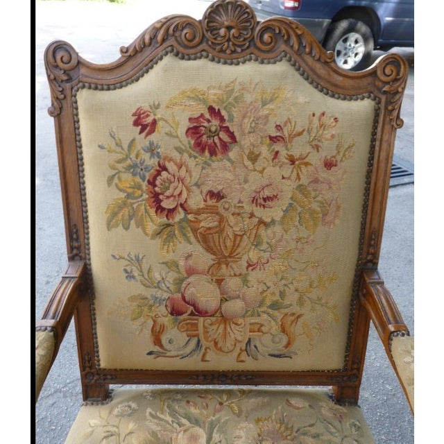 20th Century French Petit Point Needlepoint Seat Bergere Chairs - a Pair For Sale - Image 9 of 13