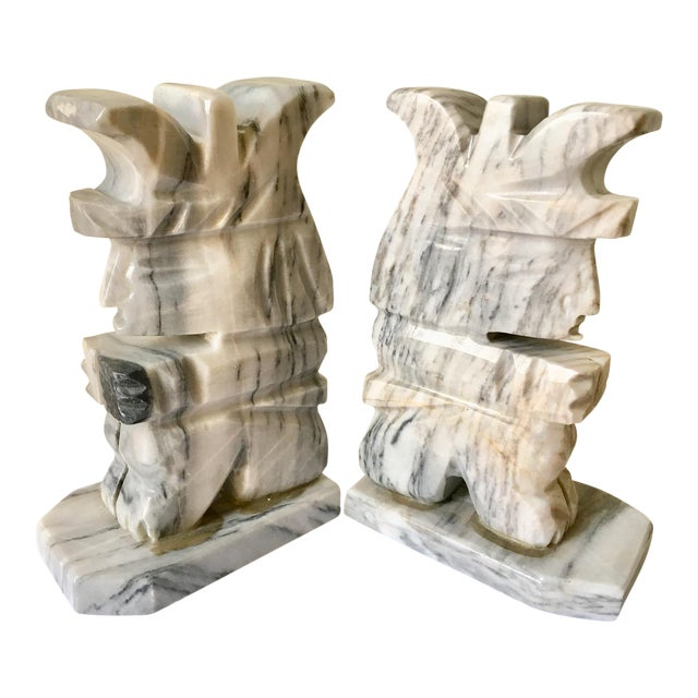 Grey & White Natural Stone Aztec Bookends - A Pair For Sale