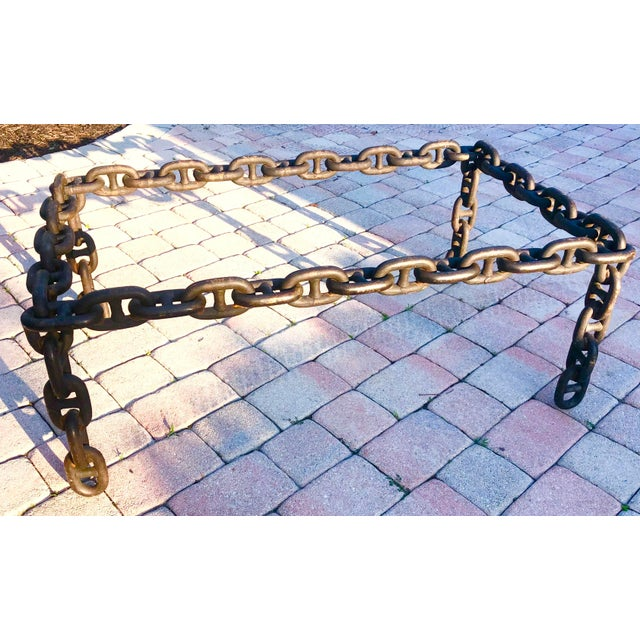 Boho Chic Ship Iron Chain Link Coffee Table For Sale - Image 3 of 10