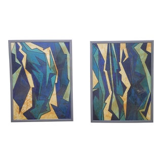 Large 1978 Expressionist Paintings by F. Rilo - A Pair For Sale