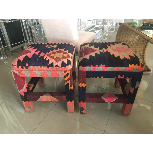 Vintage Boho Kilim Rug Upholstered Benches Stools Ottomans -A Pair For Sale - Image 13 of 13