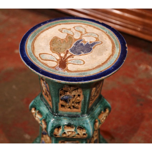Early 20th Century French Hand-Painted Ceramic Garden Stool - Image 2 of 8