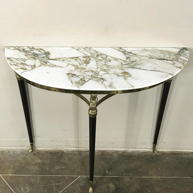 Metal Mid-Century Inlaid Marble & Brass Demilune Console For Sale - Image 7 of 12