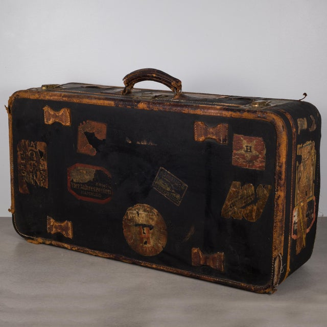 Antique Luggage With Original Travel Stickers C.1900-1930 For Sale - Image 11 of 11