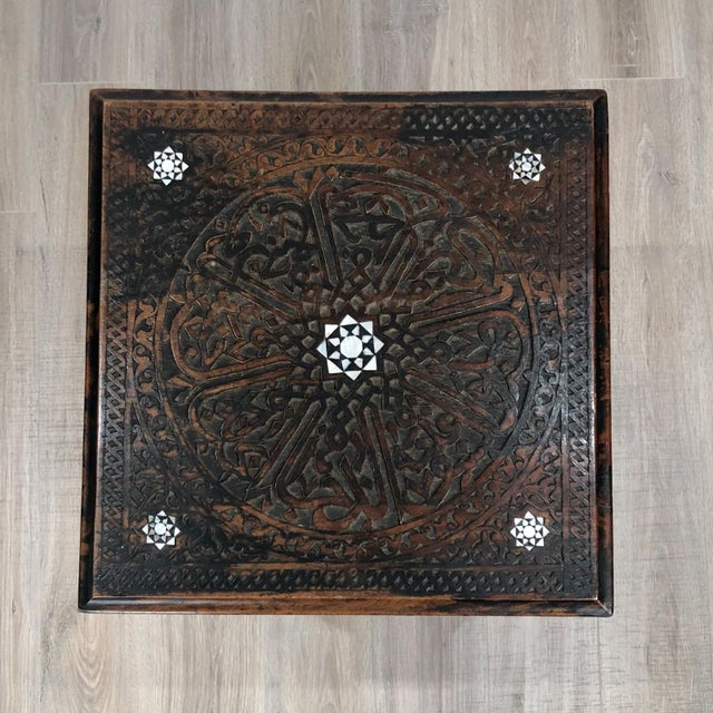 Inlaid Square Table, Morocco Circa 1880 For Sale - Image 4 of 5