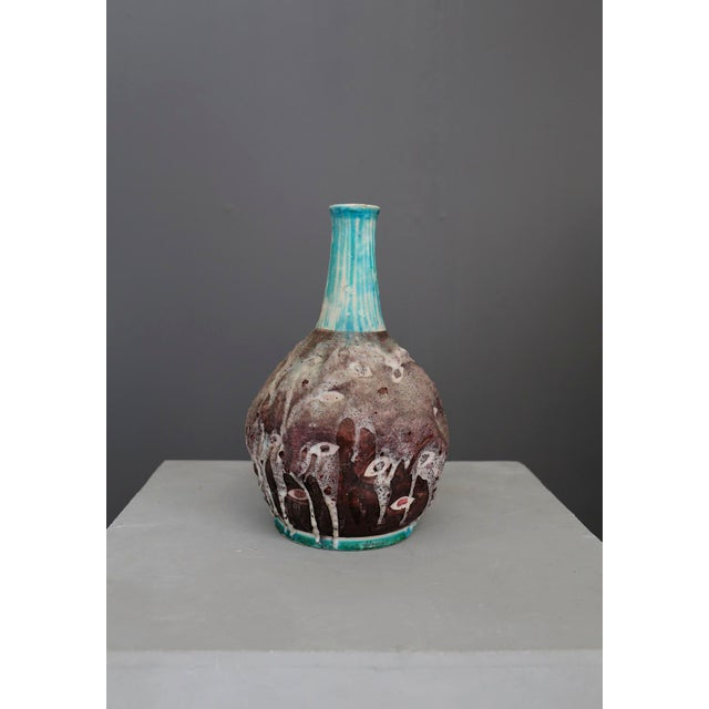 White Italian Ceramic Vase MidCentury Enamelled by c.a.s. Vietri, Italy, 1950s For Sale - Image 8 of 8
