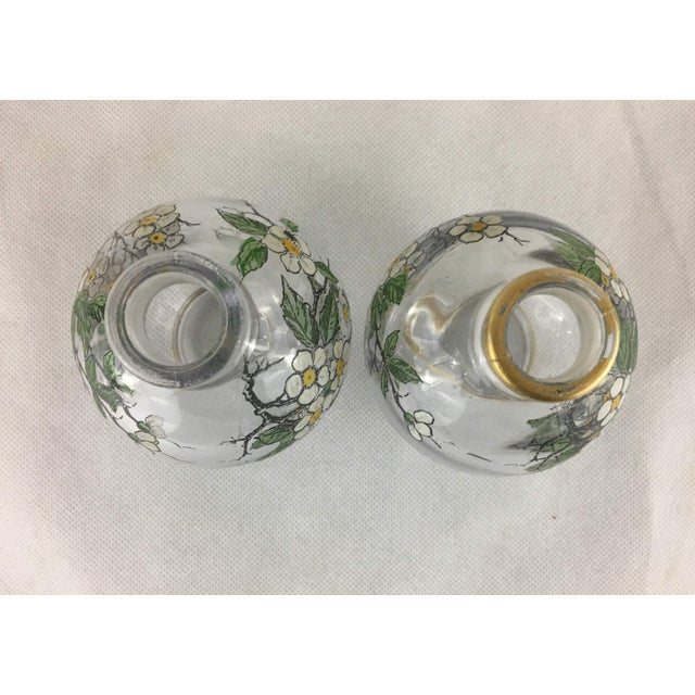 Glass Antique French Painted Glass Cruets - A Pair For Sale - Image 7 of 9