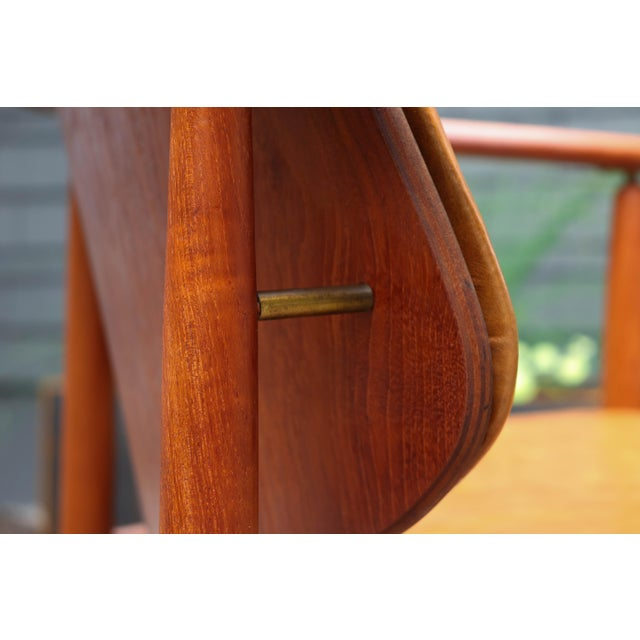 Brown 1960s Mid-Century Modern Arne Hovmand Olsen Teak Back Chair For Sale - Image 8 of 13
