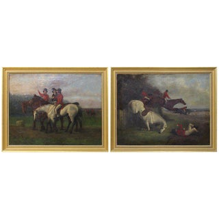 Pair of Mid-19th Century English Oil on Canvas Sporting Paintings For Sale