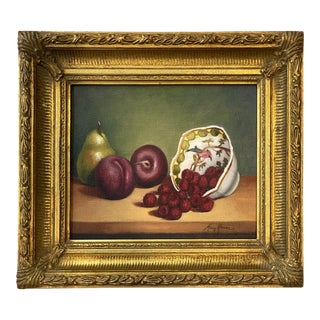 Contemporary Still Life Oil Painting of Plums, Pear and Raspberries, Framed For Sale
