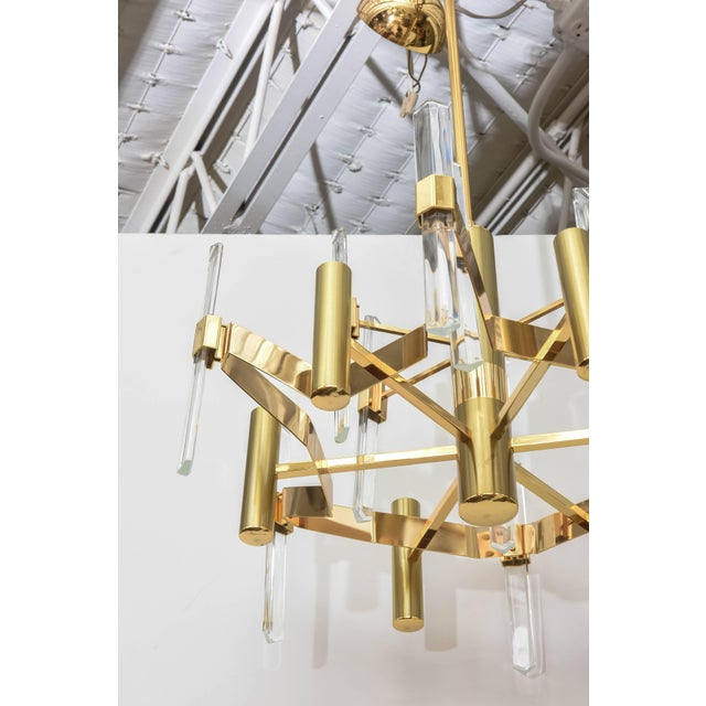 Six-light chandelier by Gaetano Sciolari. Gold-plated brass and vertical faceted crystals. Sciolari label inside canopy.