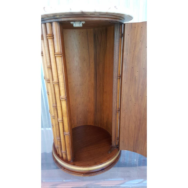 Mid-Century Modern Faux Bamboo Marble Topped Cylindrical End Table For Sale - Image 3 of 6