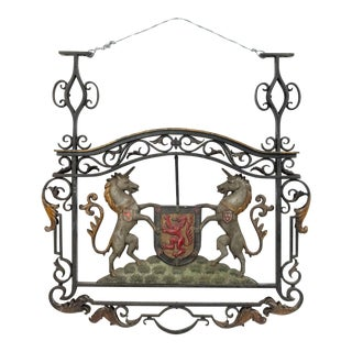 English Georgian Iron Unicorn Coat of Arms For Sale