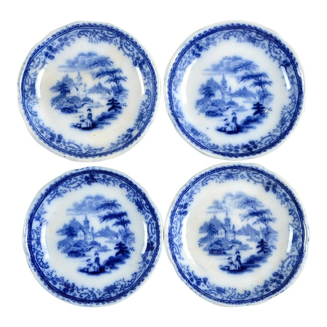 Burgess & Leigh Flow Blue Butter Pat - Set of 4 For Sale