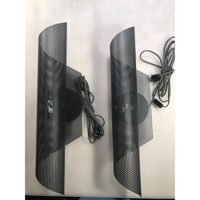 Metal Modern Black Folded Mesh Sconces - a Pair For Sale - Image 7 of 7