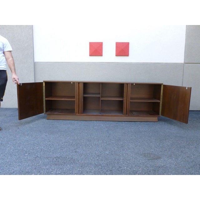 1950s Mid-Century Danish Modern Walnut Credenza W Pyramid & Tambour Doors For Sale - Image 5 of 7