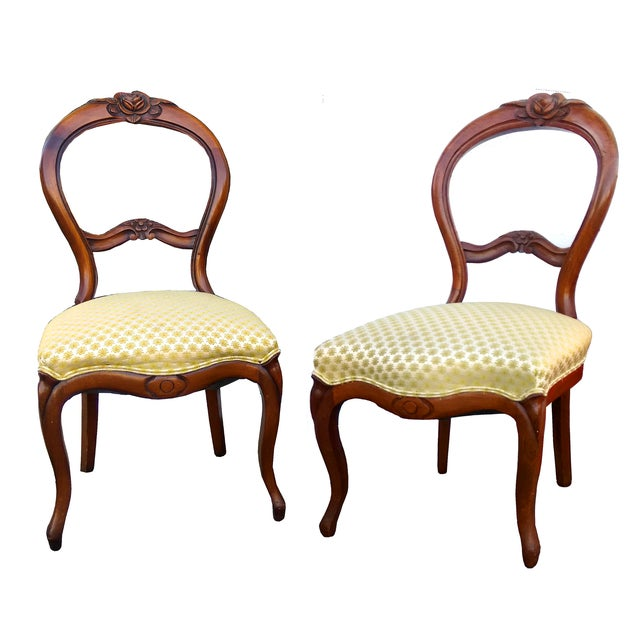 Antique Balloon Back Parlor Chairs - A Pair - Antique Balloon Back Parlor Chairs - A Pair Chairish
