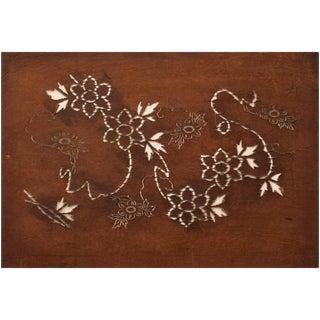 C. 1850 Antique Edo Era Japanese Katagami Flower Stencil Art For Sale