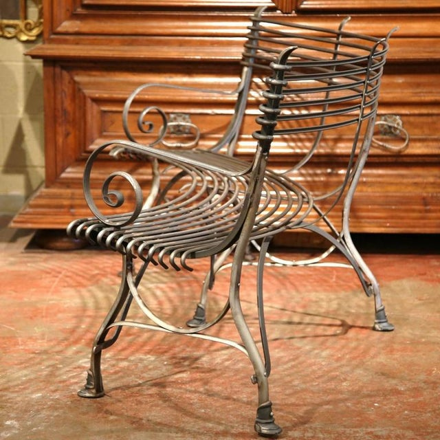 Silver French Polished Iron Hoof Foot Curved Bench Signed Sauveur Arras For Sale - Image 8 of 10