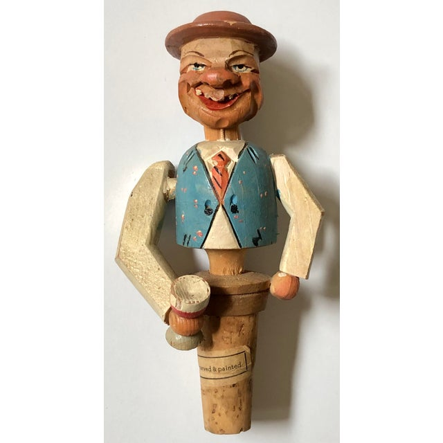 German Hand Carved Drinking Man Bottle Cork For Sale - Image 4 of 4