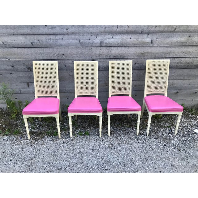 Hickory Furniture Hickory Faux Bamboo and Cane Pink Side/Dining Chairs - Set of 4 For Sale - Image 4 of 11