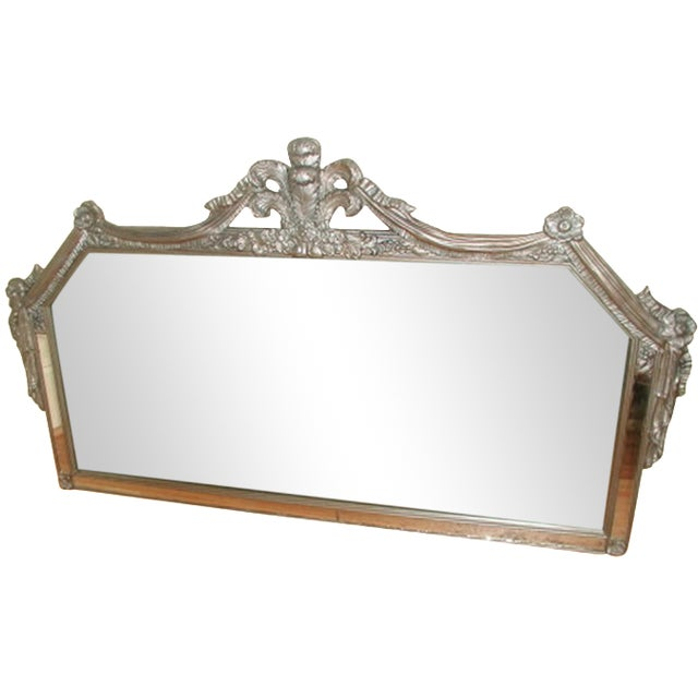 Early 20th-C. Silver Floral Swag Mirror - Image 1 of 8