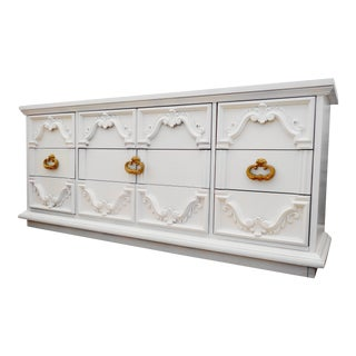 Vintage French Provincial White Buffet For Sale