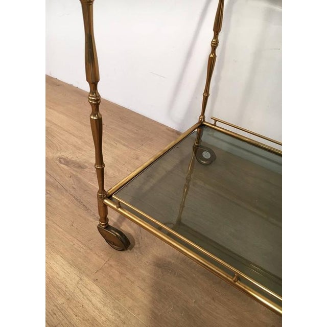 1960s French Brass and Glass Rolling Cart For Sale - Image 5 of 7