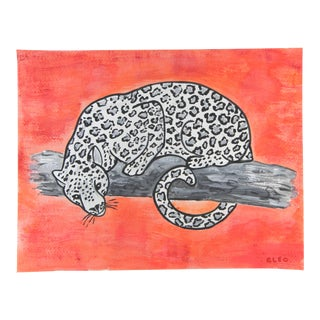 White Leopard Chinoiserie by Cleo Plowden For Sale