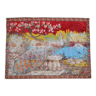 Vintage Peacock Pattern Tapestry - 47ʺ X 65ʺ For Sale