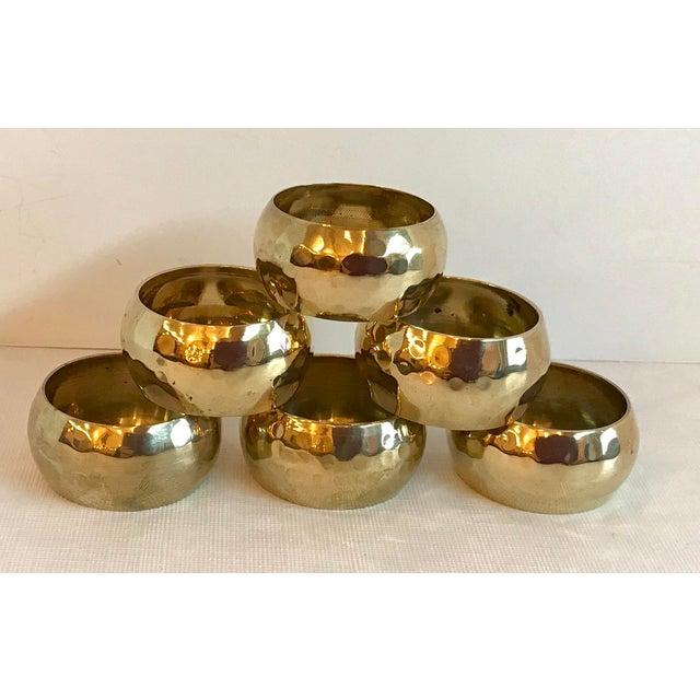 Gold Vintage Brass Hammered Napkin Rings - Set of 6 For Sale - Image 8 of 8
