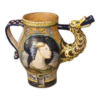 Early 1900s Italian Majolica Orciuolo Apothecary Pitcher For Sale
