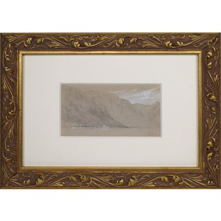 19th Century Graphite & Watercolor Landscape Drawing of Lake Como Italy For Sale