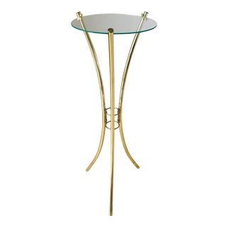 Hollywood Regency Brass Glass Side Table For Sale