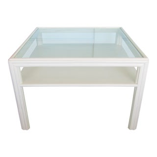Vintage McGuire Glass Top Square Coffee Table