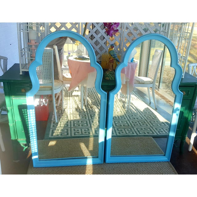 Hollywood Regency Set of 2- Vintage Moroccan Style Turqouise Blue Mirrors For Sale - Image 3 of 10