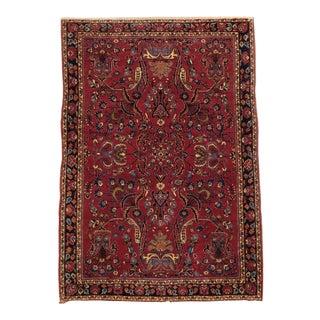Vintage Persian Sarouk Rug- 3′3″ × 4′9″ For Sale