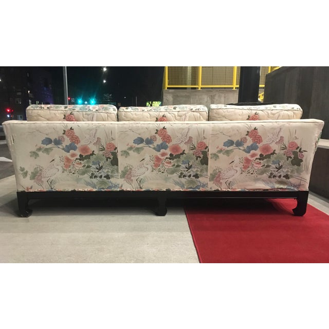 Manner of Michael Taylor for Baker Tufted Chinoiserie Sofa With Ming Legs For Sale In Denver - Image 6 of 13