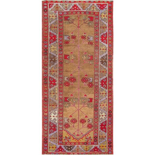 Red 1920s Vintage Tribal Design Turkish Oushak Runner Rug - 3′10″ × 8′6″ For Sale - Image 8 of 8