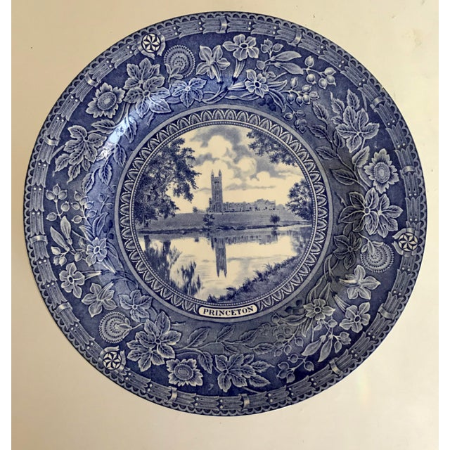 1930s 1930 Wedgwood Princeton University Blue and White Dinner Plate Set of 9 For Sale - Image 5 of 12