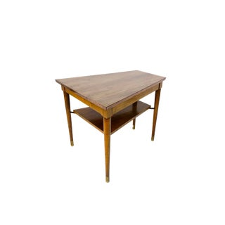 Mid-Century Walnut Wood Wedge Table | Two-Tier Trapezoid Side Table | Tapered Legs Brass Cap Feet | Large Scale Retro End Table For Sale